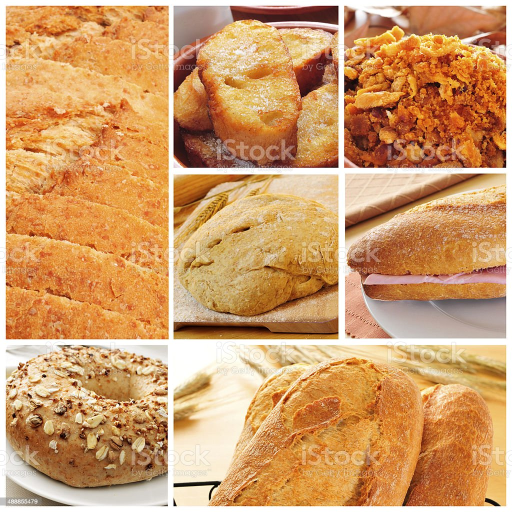 bread products collage stock photo