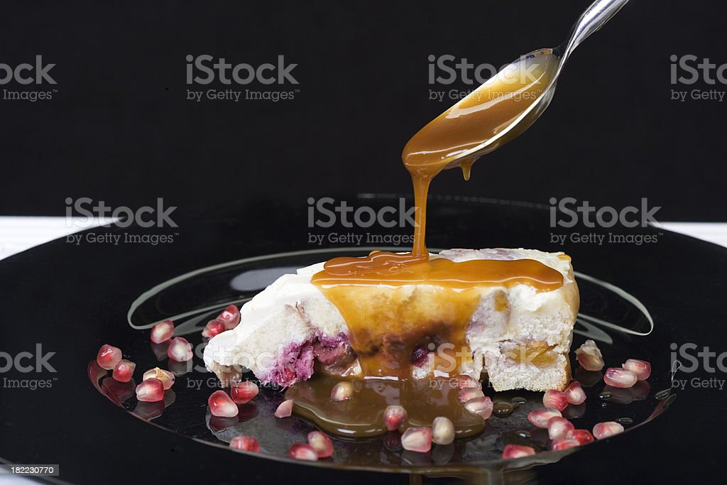 bread pudding with caramel sauce royalty-free stock photo