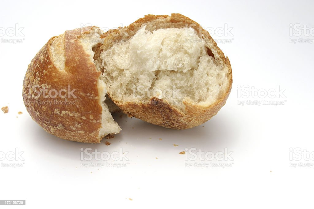 Bread Roll Cracked royalty-free stock photo