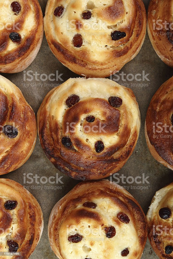 Bread Roll with raisins and cottage cheese filling royalty-free stock photo