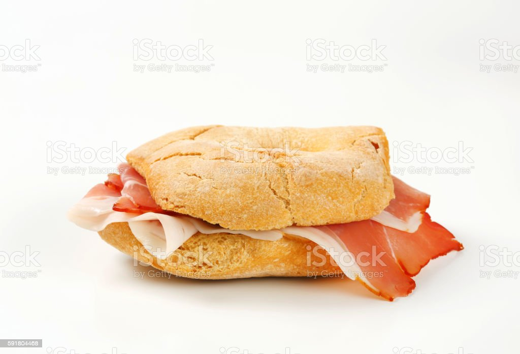 Bread roll (friselle) with slices of Schwarzwald ham stock photo