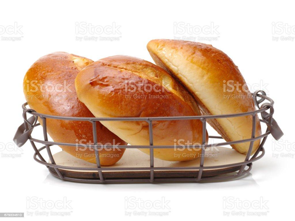 bread rolls    on white background stock photo