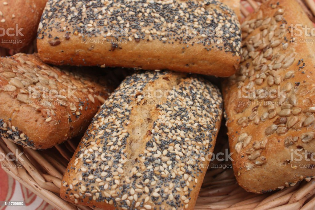 Bread rolls With sunflower and poppy seeds stock photo
