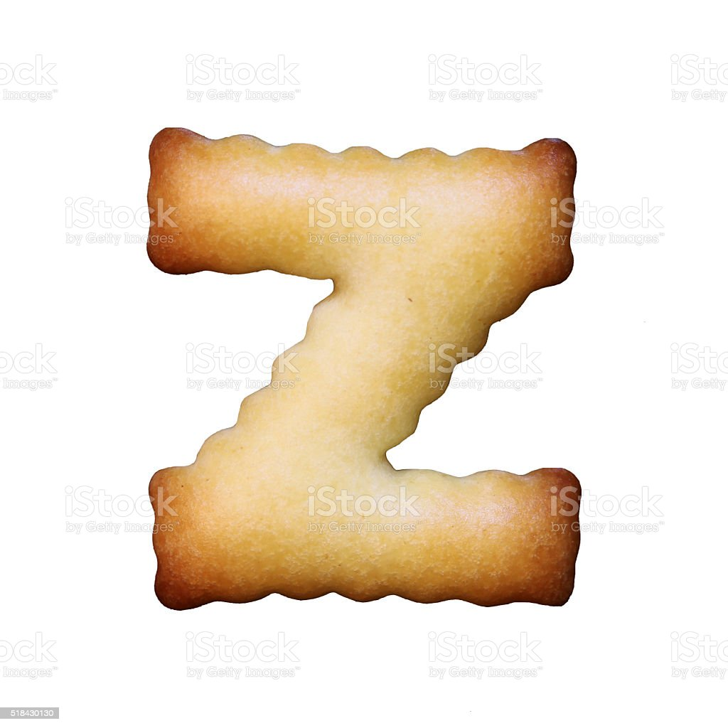 Bread sample letter z on white background. stock photo