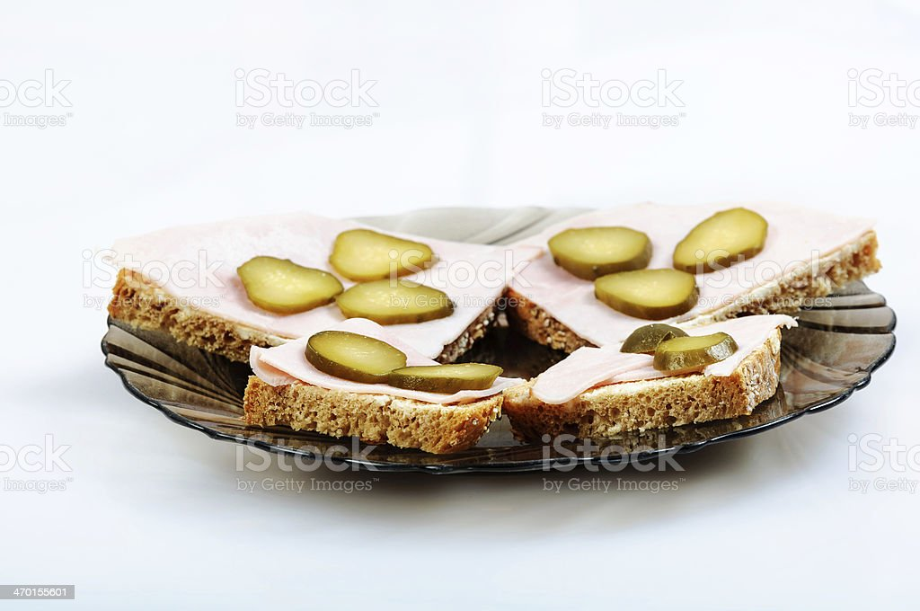 bread sandwich on plate white background stock photo