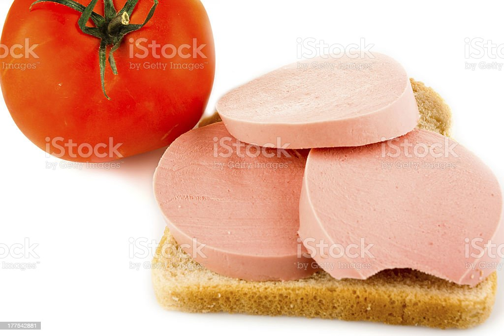 Bread, sausage and tomato royalty-free stock photo