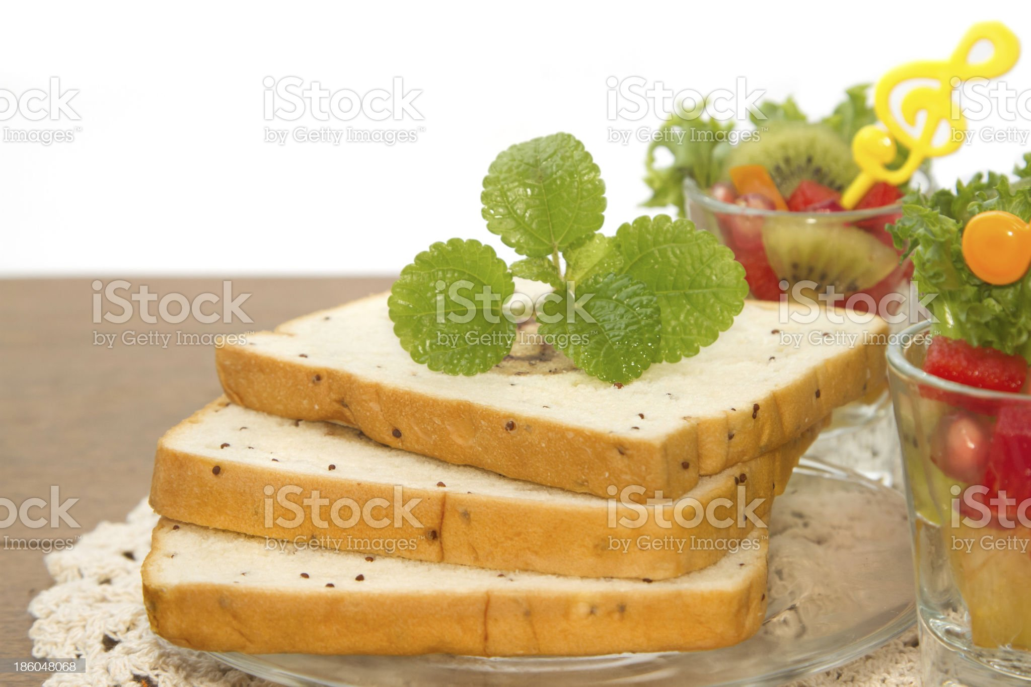 bread slice and fruit salad , fusion food royalty-free stock photo