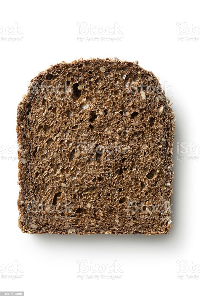 Bread: Slice of Brown Bread Isolated on White Background stock photo