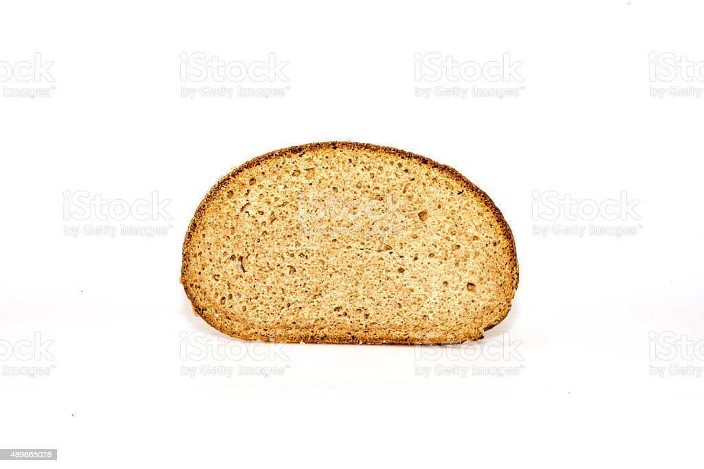 bread slice on white with shadow stock photo