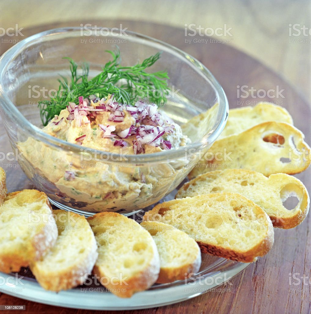 Bread Slices and Red Onion Dip Appetizer royalty-free stock photo