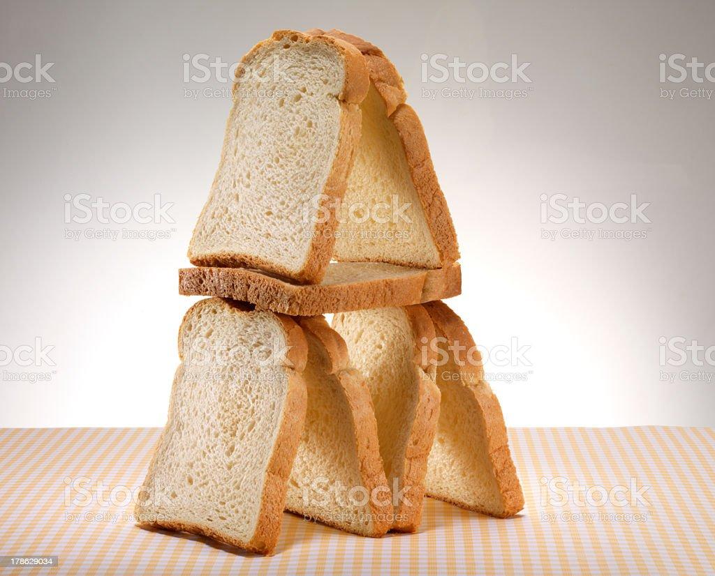 bread slices pyramid stock photo