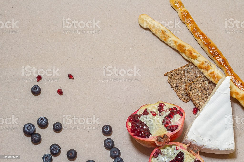 bread, spinach, cheese and berries stock photo