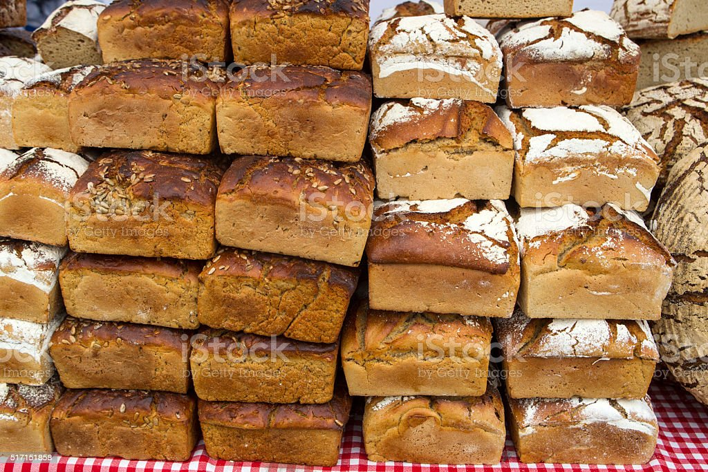 Bread stacks stock photo