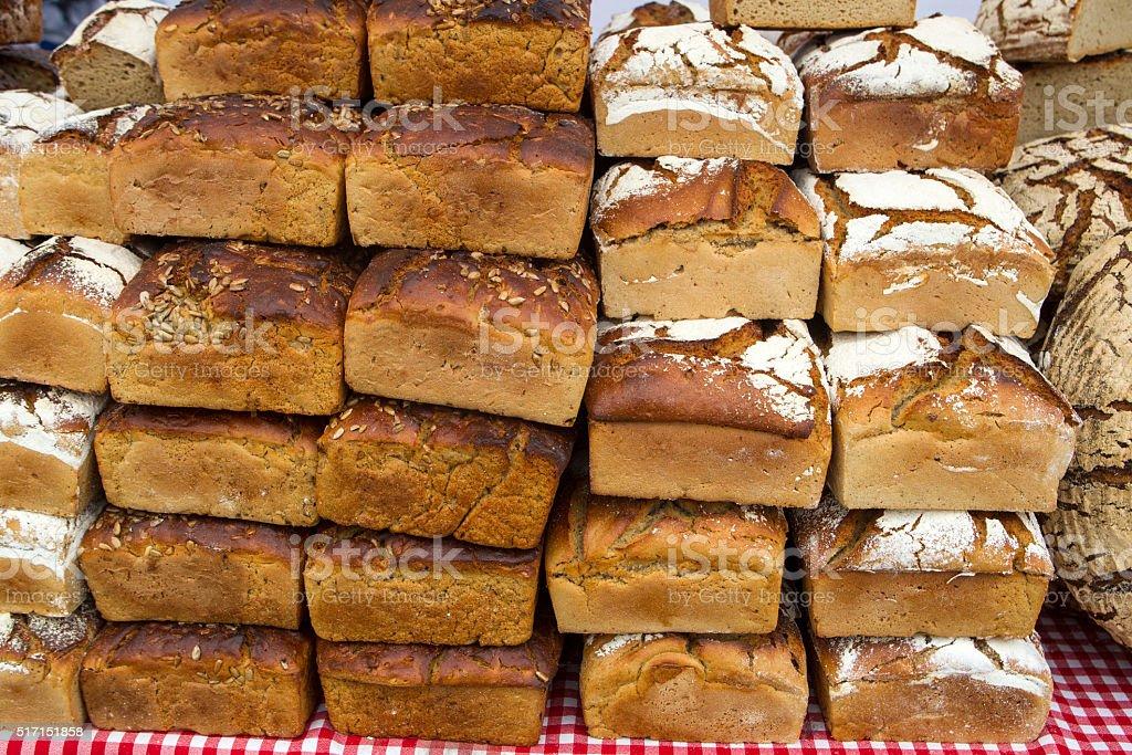Bread stacks stock photo