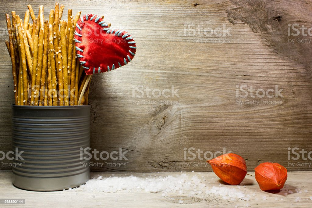 Bread sticks with salt in a tin can stock photo