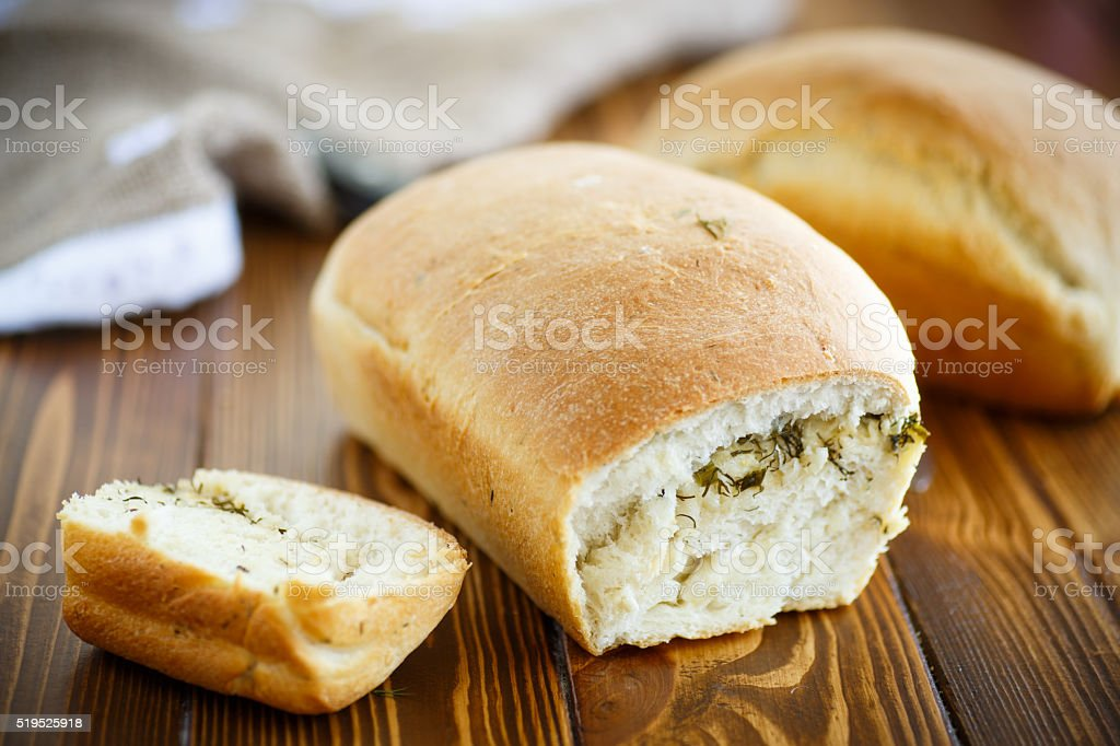 bread stuffed with cheese and dill stock photo