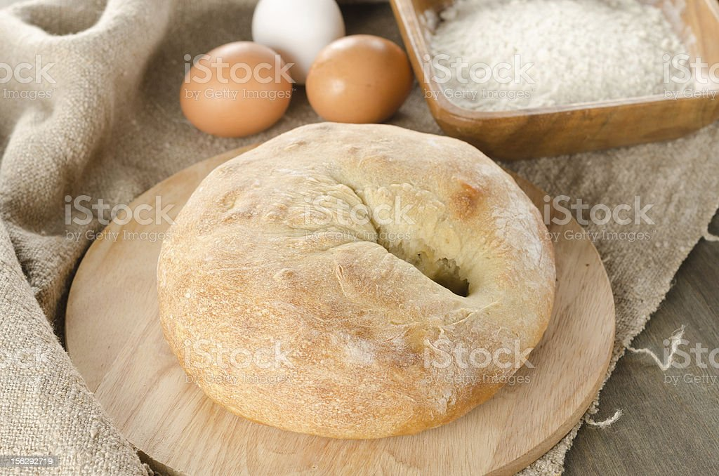 bread stuffed with cheese and sausage royalty-free stock photo