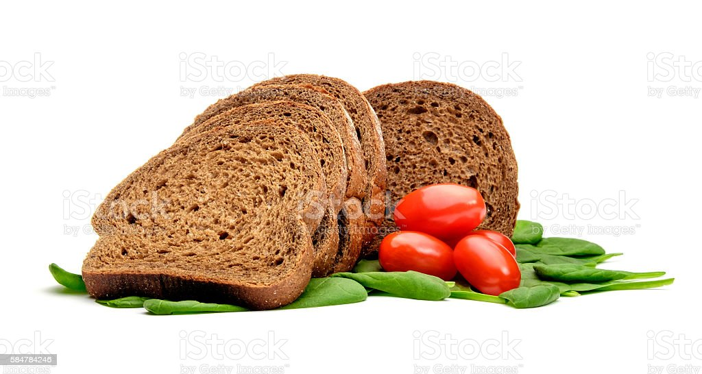 Bread tomatos and spinach stock photo