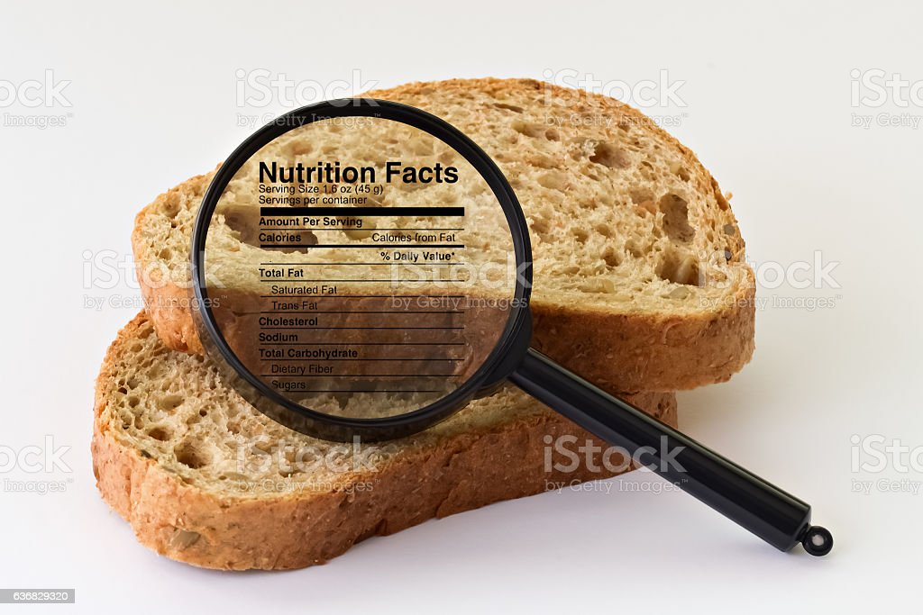 Bread under a magnifier stock photo
