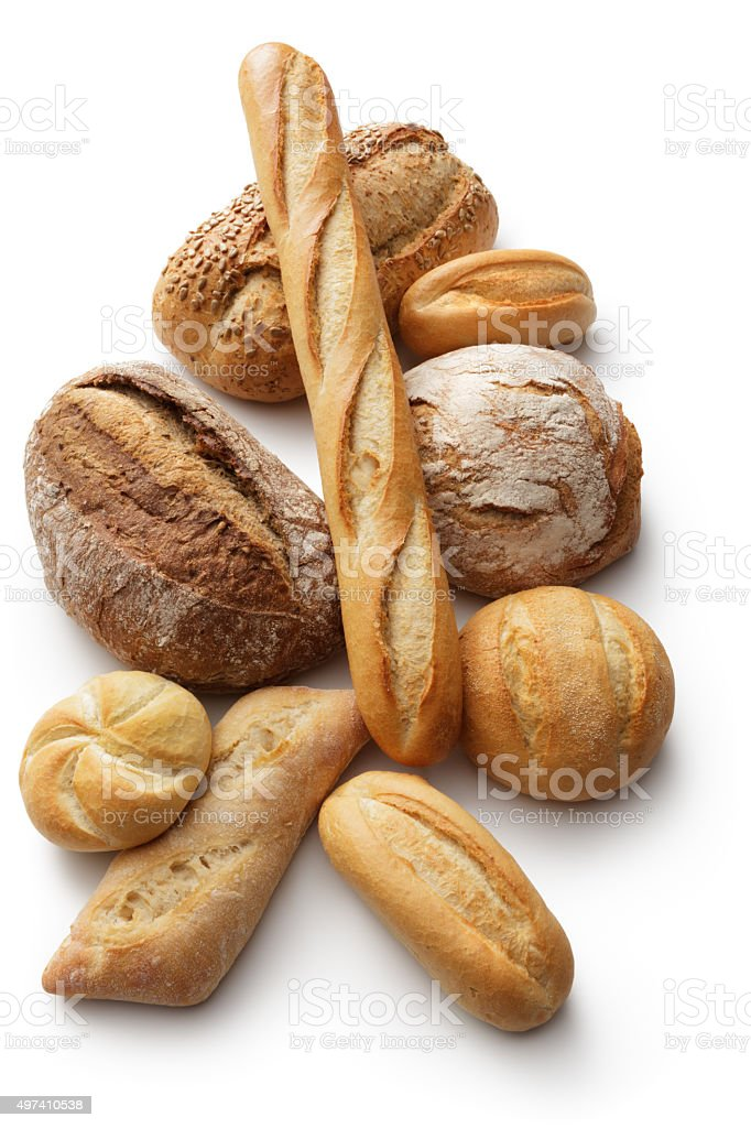 Bread: Variety of Breads Isolated on White Background stock photo