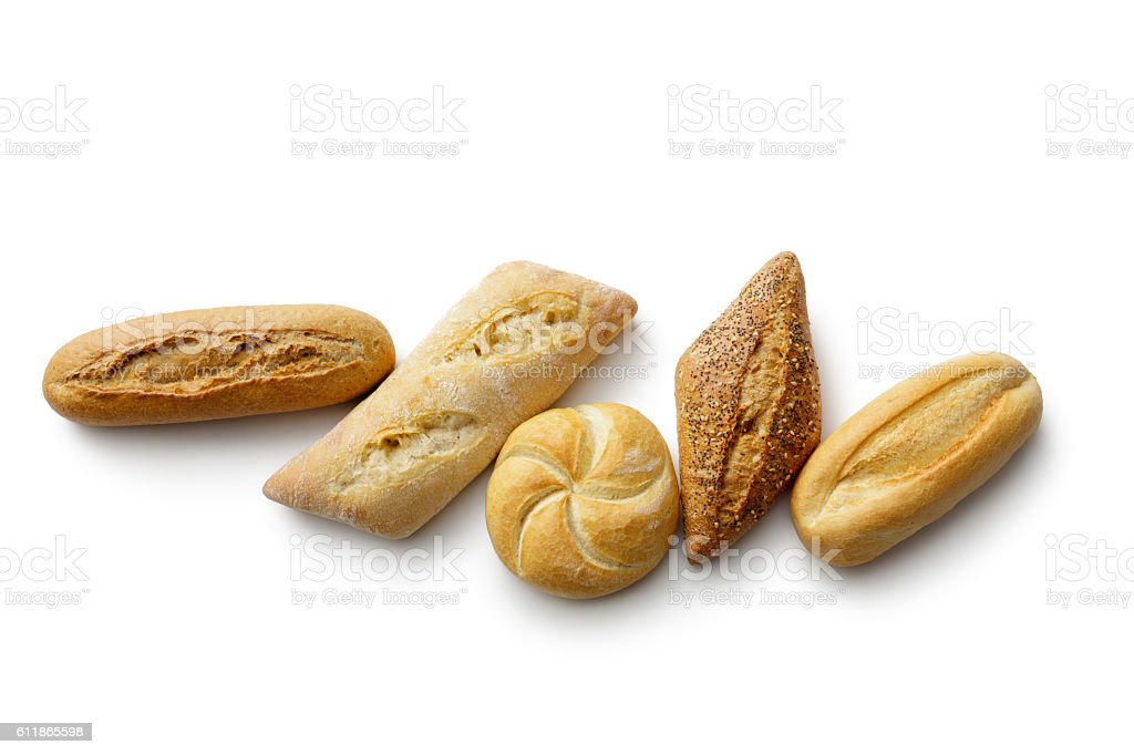 Bread: Variety of Buns Isolated on White Background stock photo