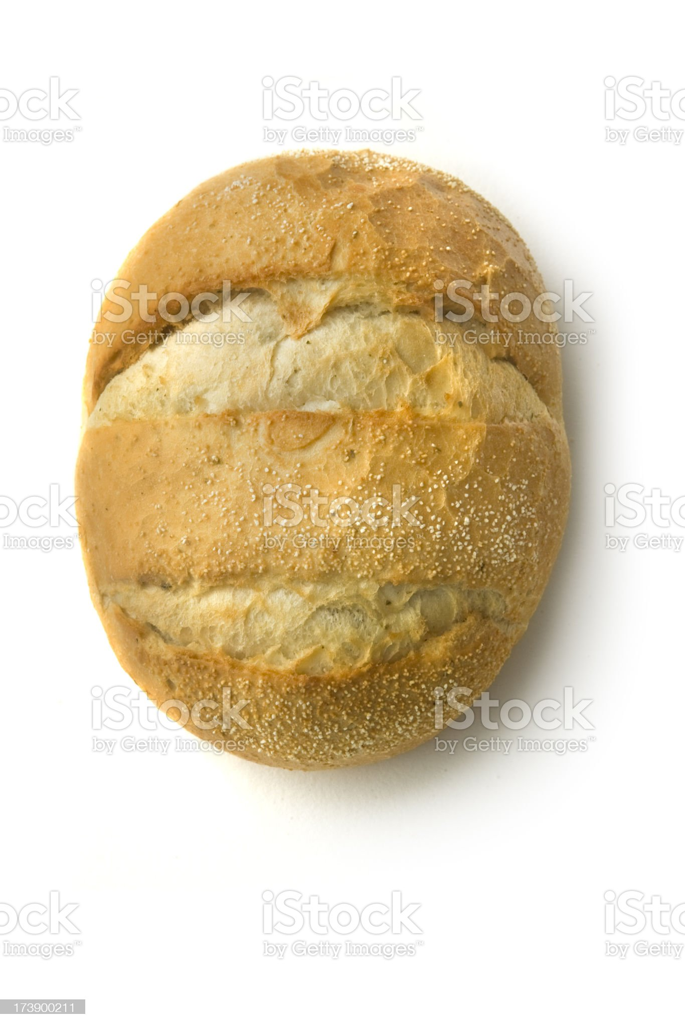 Bread: White Bread Roll Isolated on White Background royalty-free stock photo