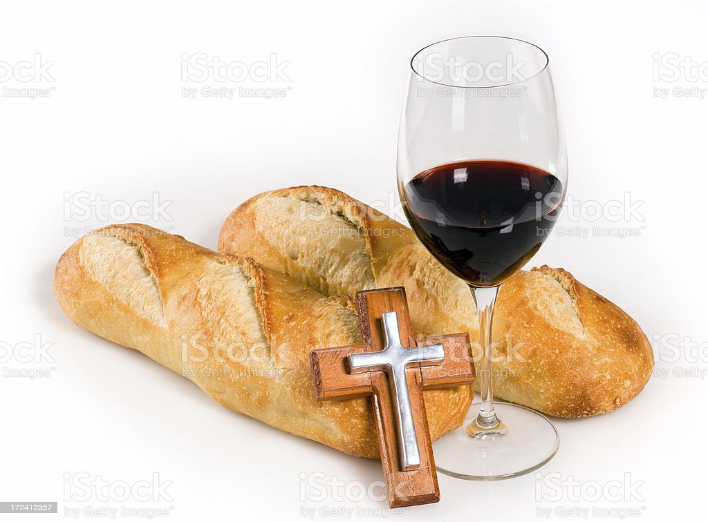 Bread, wine and a crucifix royalty-free stock photo