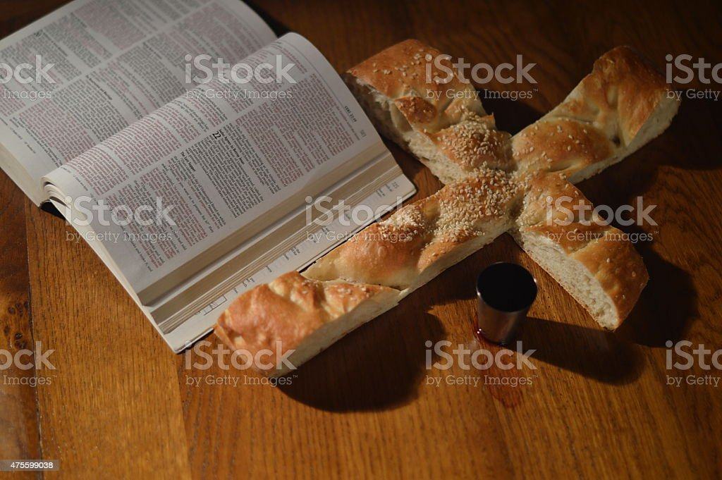 Bread wine and bible stock photo