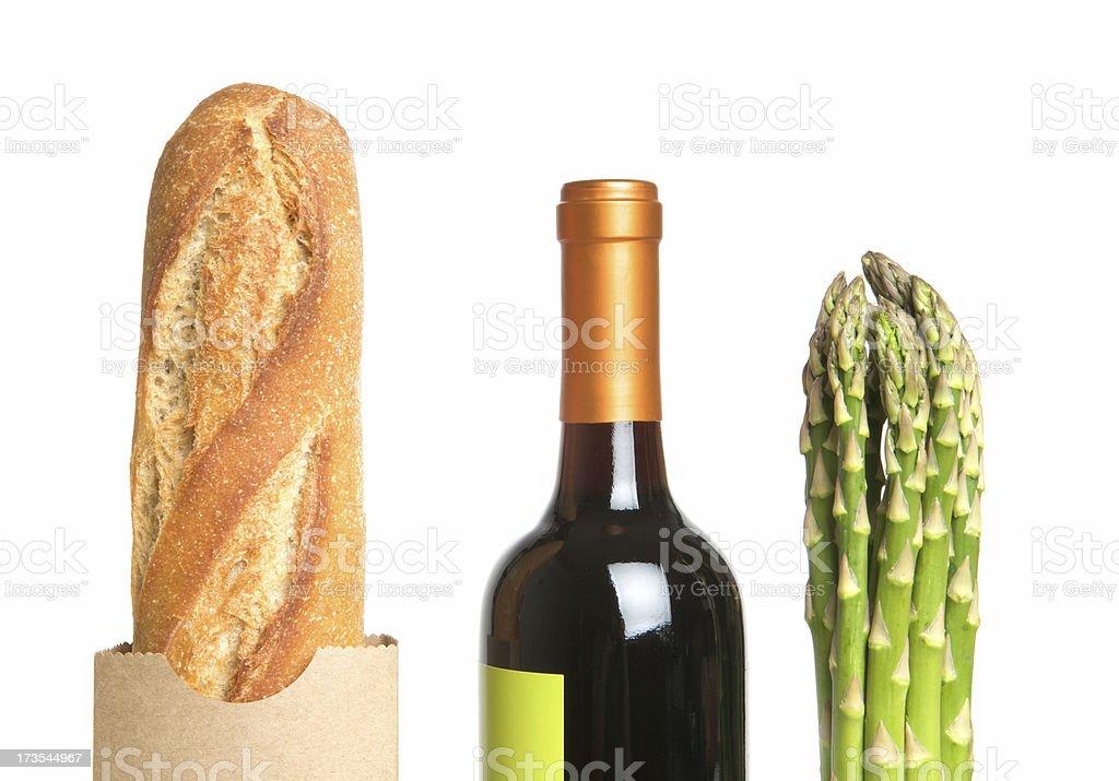 Bread, Wine, Asparagus royalty-free stock photo