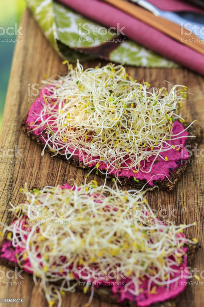 bread with alfalfa sprouts and beetroot cream stock photo