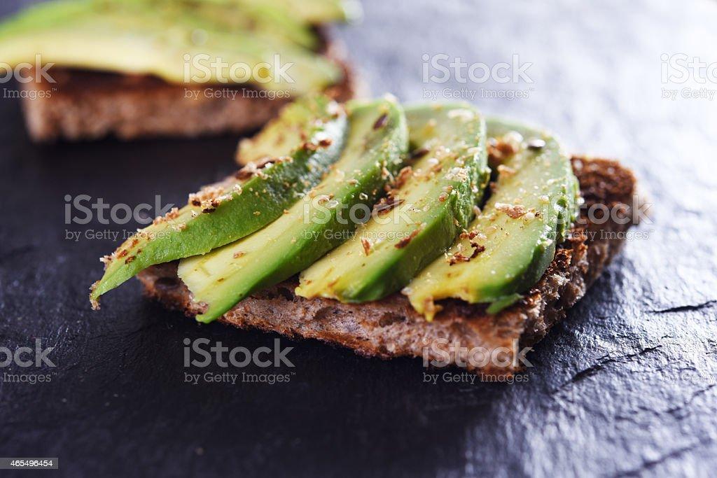 bread with avocado stock photo