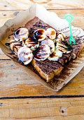 Bread with banana and chocolate sauce