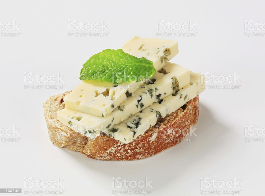 bread with blue cheese stock photo