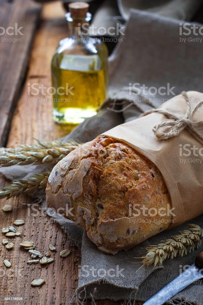 Bread with bran and seeds stock photo