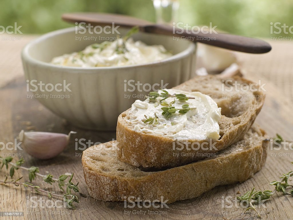 bread with cheese dip stock photo