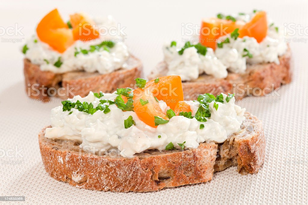 Bread with cheese spread royalty-free stock photo