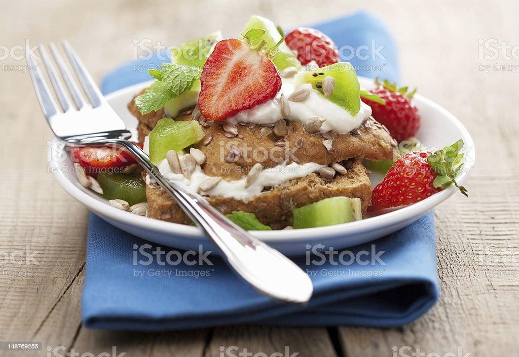 bread with cottage cheese and berries royalty-free stock photo