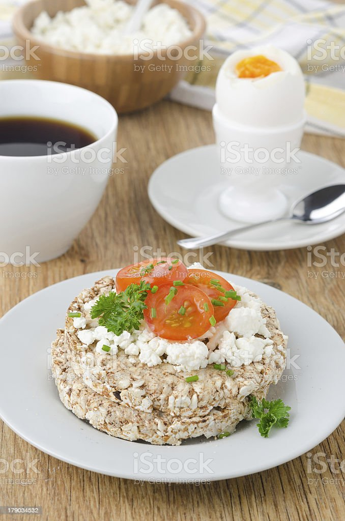 bread with cottage cheese, cherry tomatoes, boiled egg royalty-free stock photo