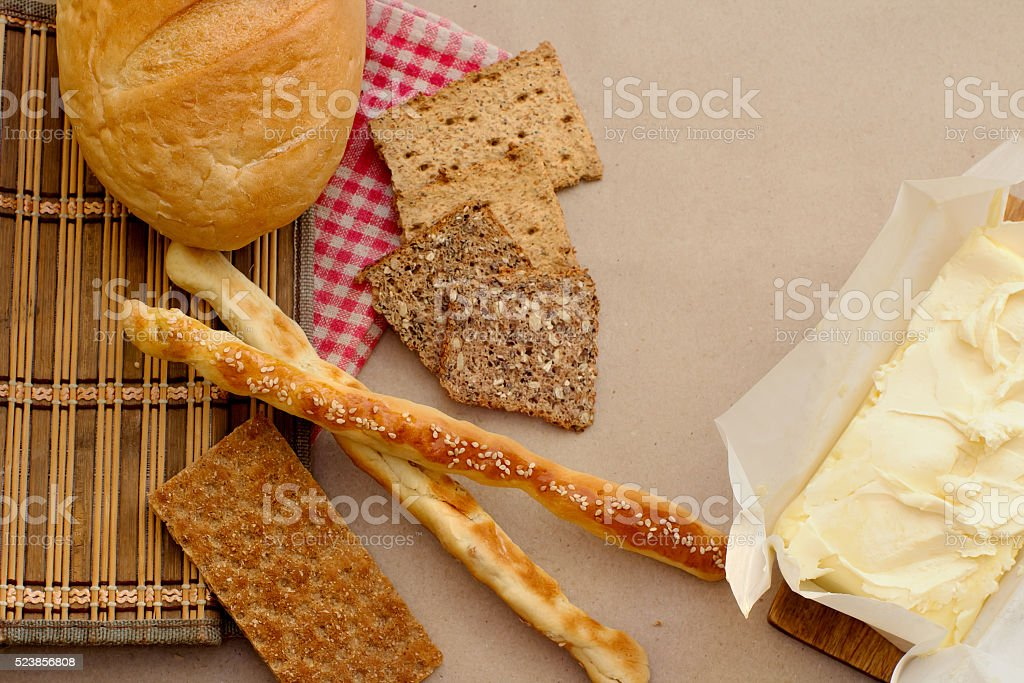 bread with country butter stock photo