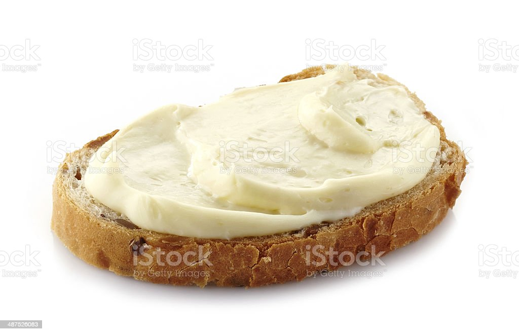 bread with cream cheese on white background stock photo