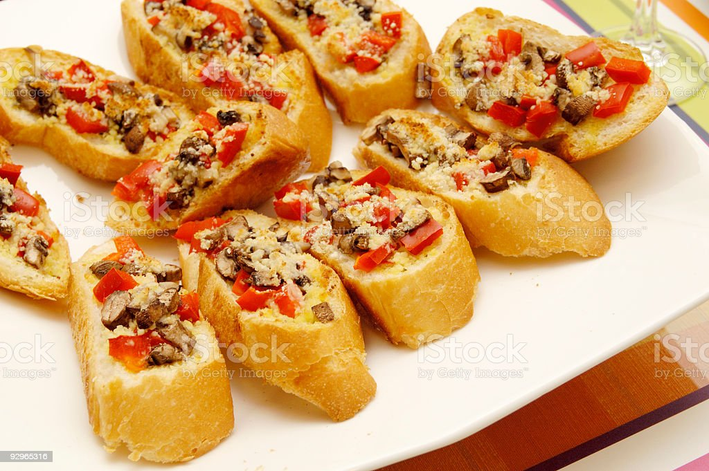 Bread with delicious toppings royalty-free stock photo