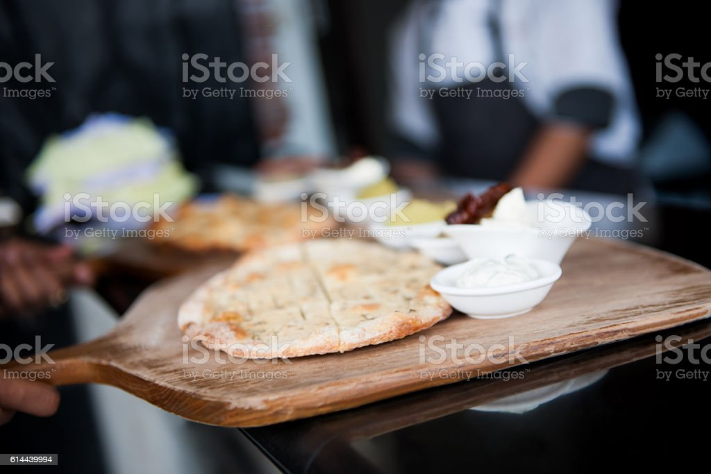 Bread with dippings stock photo