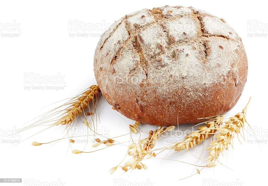 Bread with ears of wheat stock photo