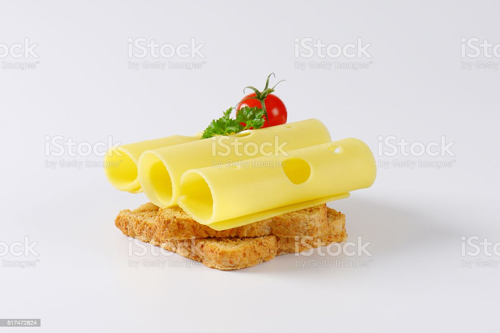 bread with emmenthaler cheese stock photo