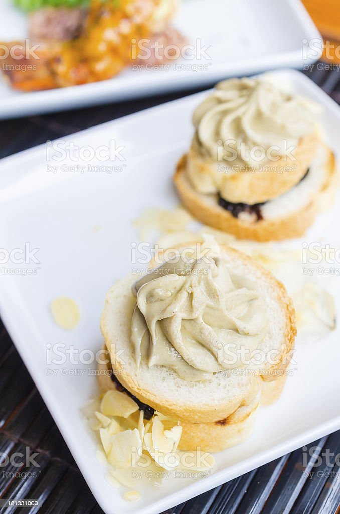 Bread with foie gras royalty-free stock photo