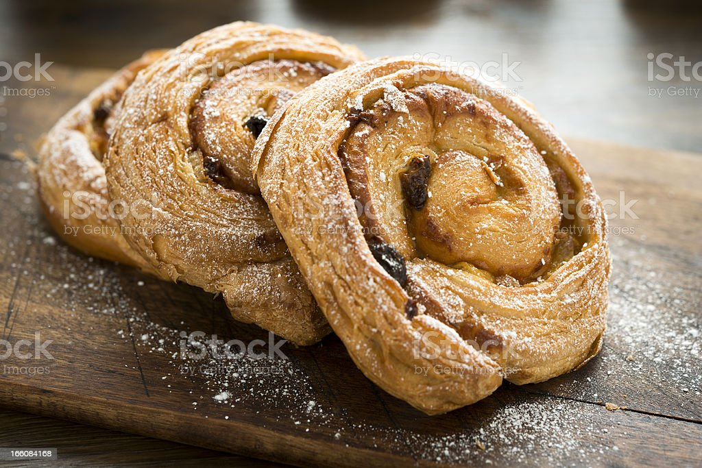 Pain aux raisins stock photo