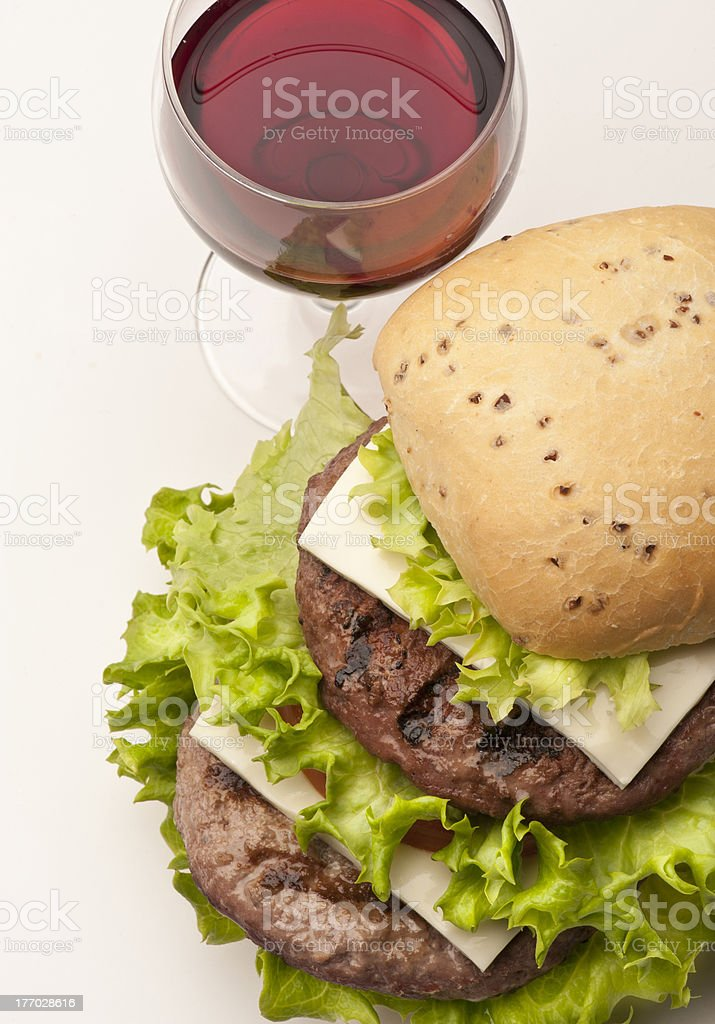 bread with hamburger and salad royalty-free stock photo