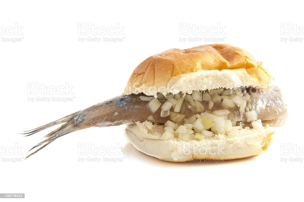 Bread with herring stock photo