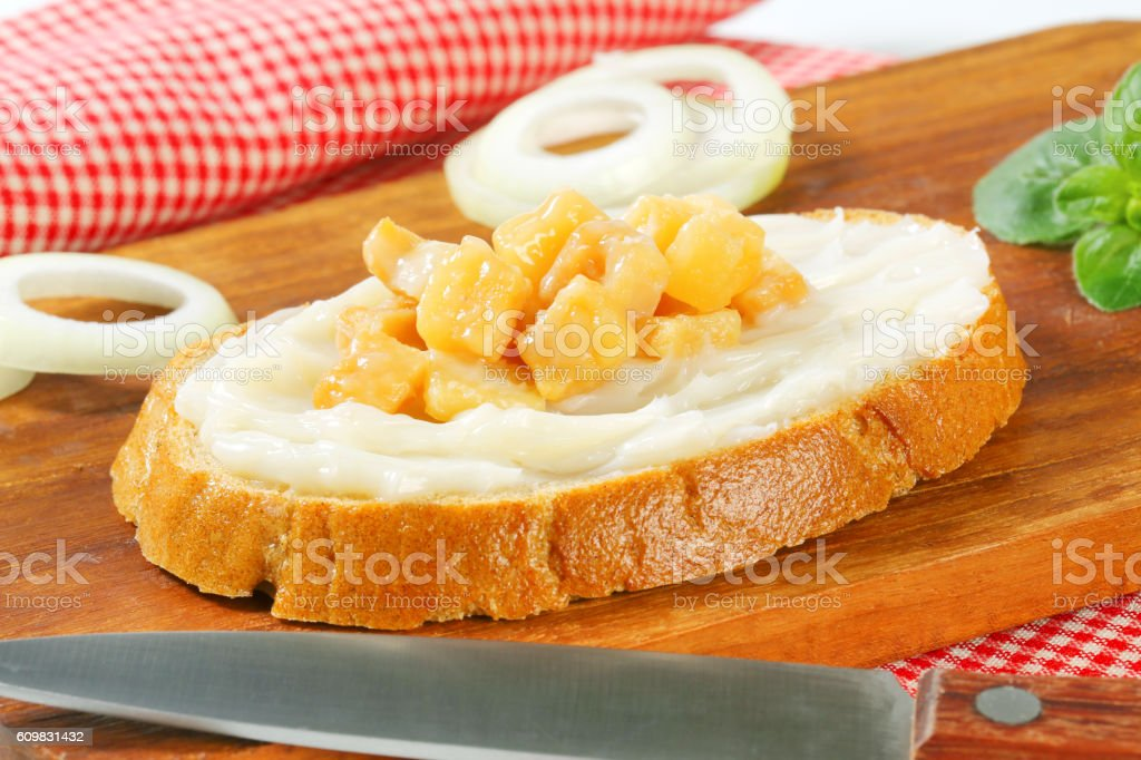 Bread with lard and greaves stock photo