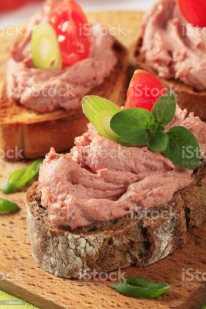 Bread with meat mousse stock photo